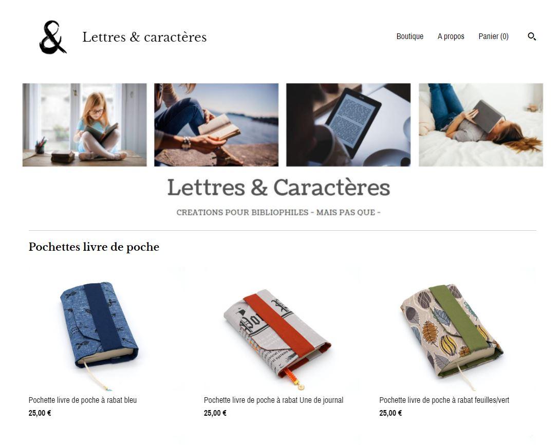 Aperçu de la page d'accueil de la boutique Lettresetcaracteres.com